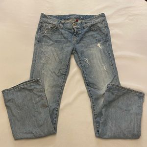 GUESS Daredevil Bootcut Distressed Jeans, Size 32